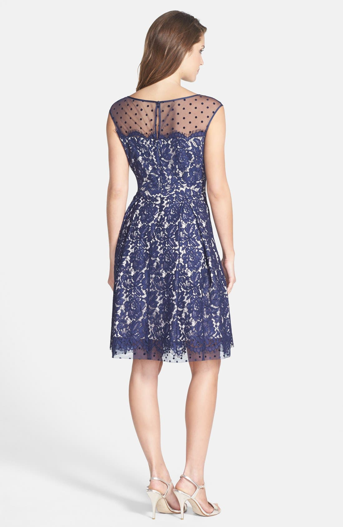 Alternate Image 2  - Eliza J Illusion Yoke Lace Fit & Flare Dress