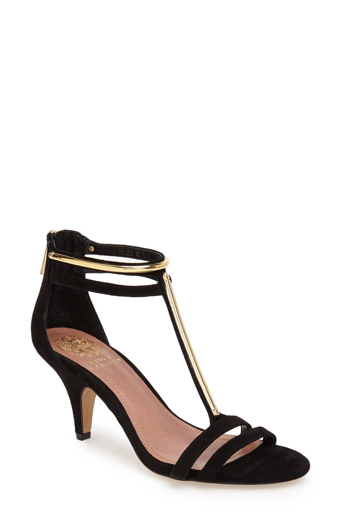 Main Image - Vince Camuto 'Mitzy' Suede T-Strap Sandal (Women)