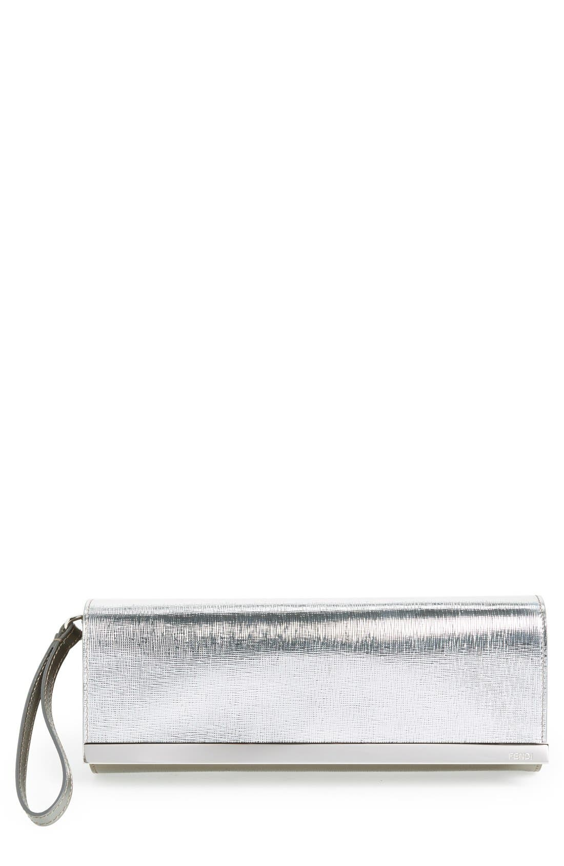 Main Image - Fendi 'Vernice Bicolor Rush' Metallic Leather Pochette Clutch