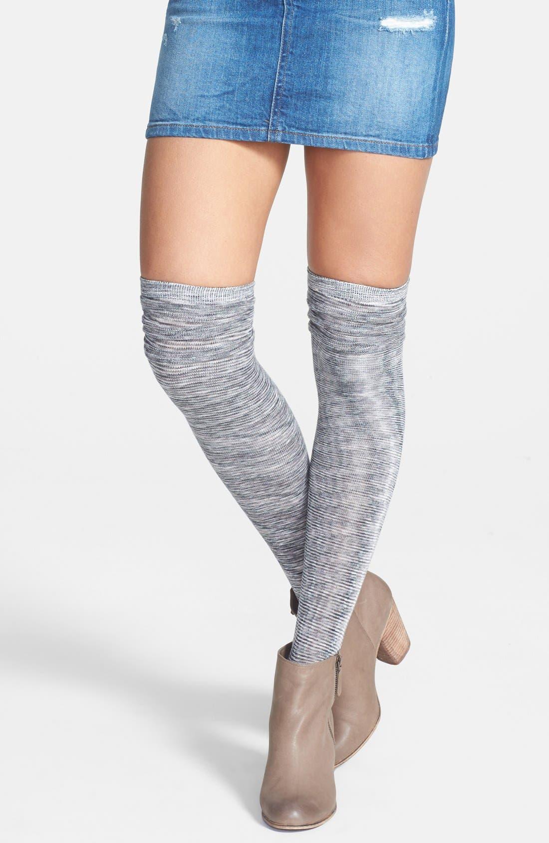 Alternate Image 1 Selected - K. Bell Socks Triple Ruffle Space Dye Over the Knee Socks