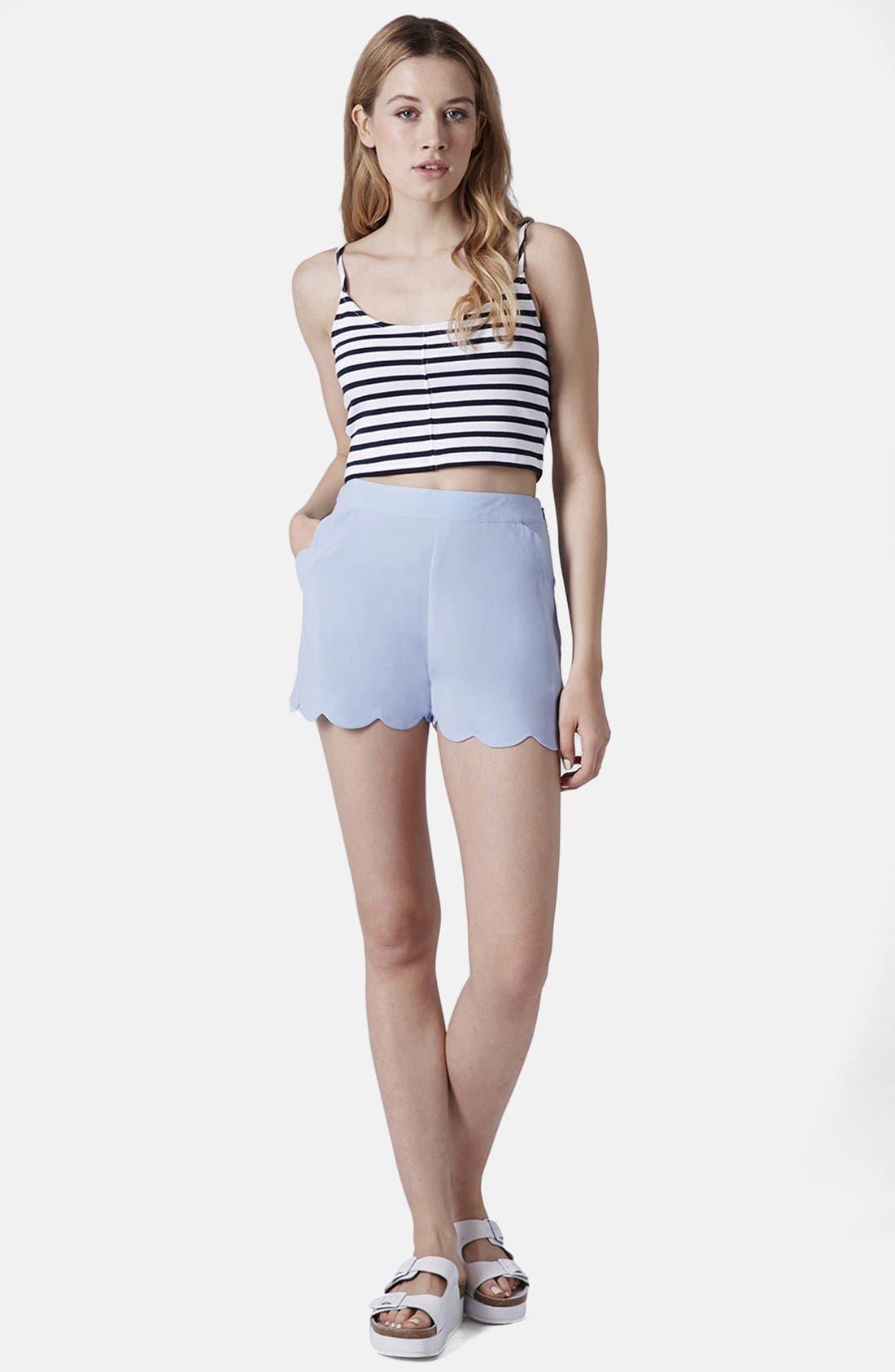 Alternate Image 5  - Topshop Scallop Hem Crepe Shorts