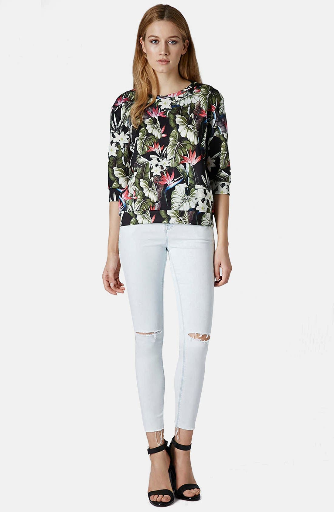 Alternate Image 5  - Topshop 'Leigh' Moto Ripped Ankle Skinny Jeans (Light Denim) (Regular & Short)