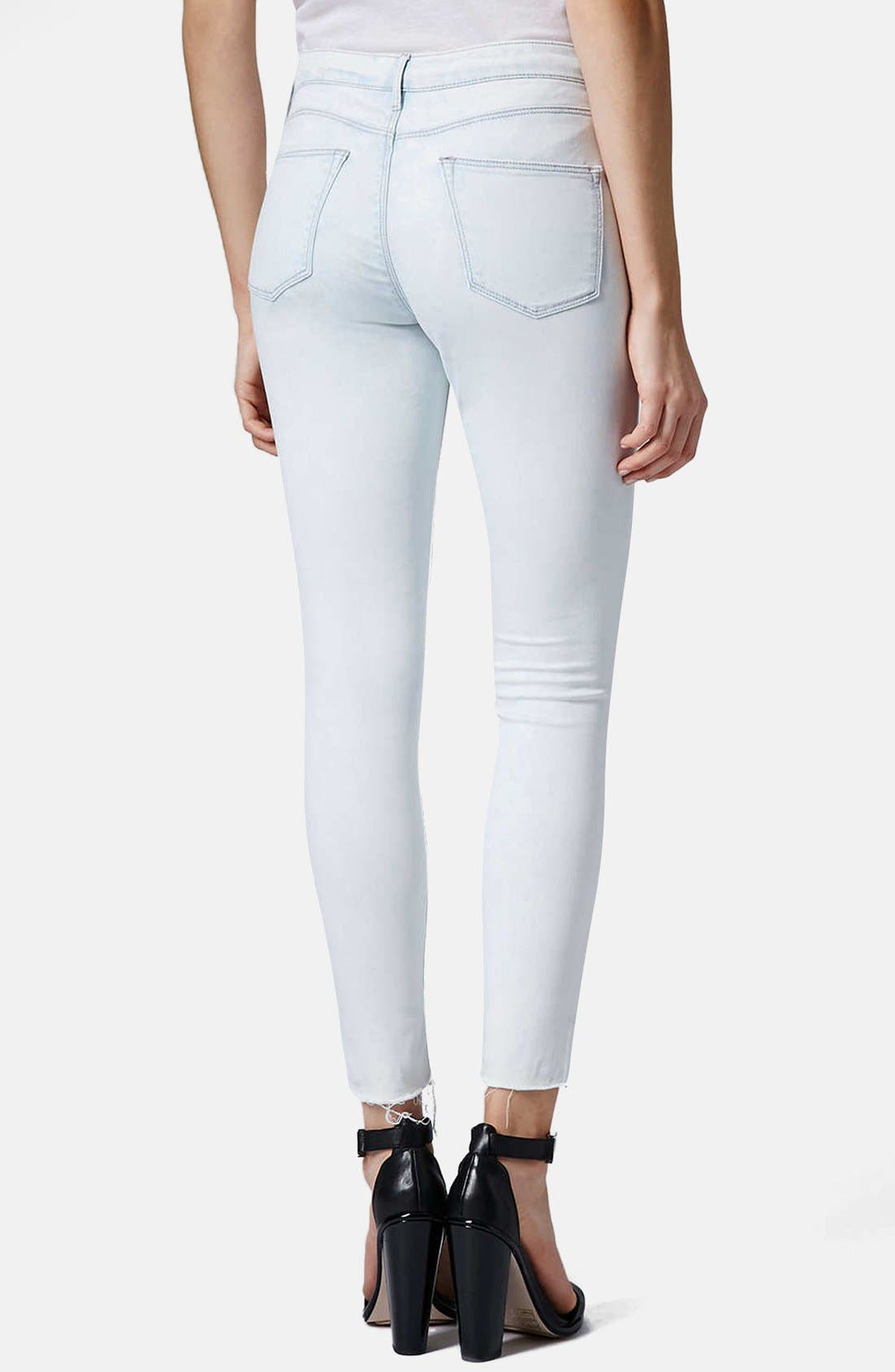Alternate Image 2  - Topshop 'Leigh' Moto Ripped Ankle Skinny Jeans (Light Denim) (Regular & Short)