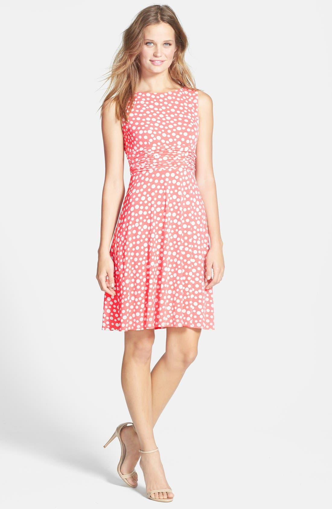 Alternate Image 3  - Eliza J Polka Dot Jersey Fit & Flare Dress (Petite)