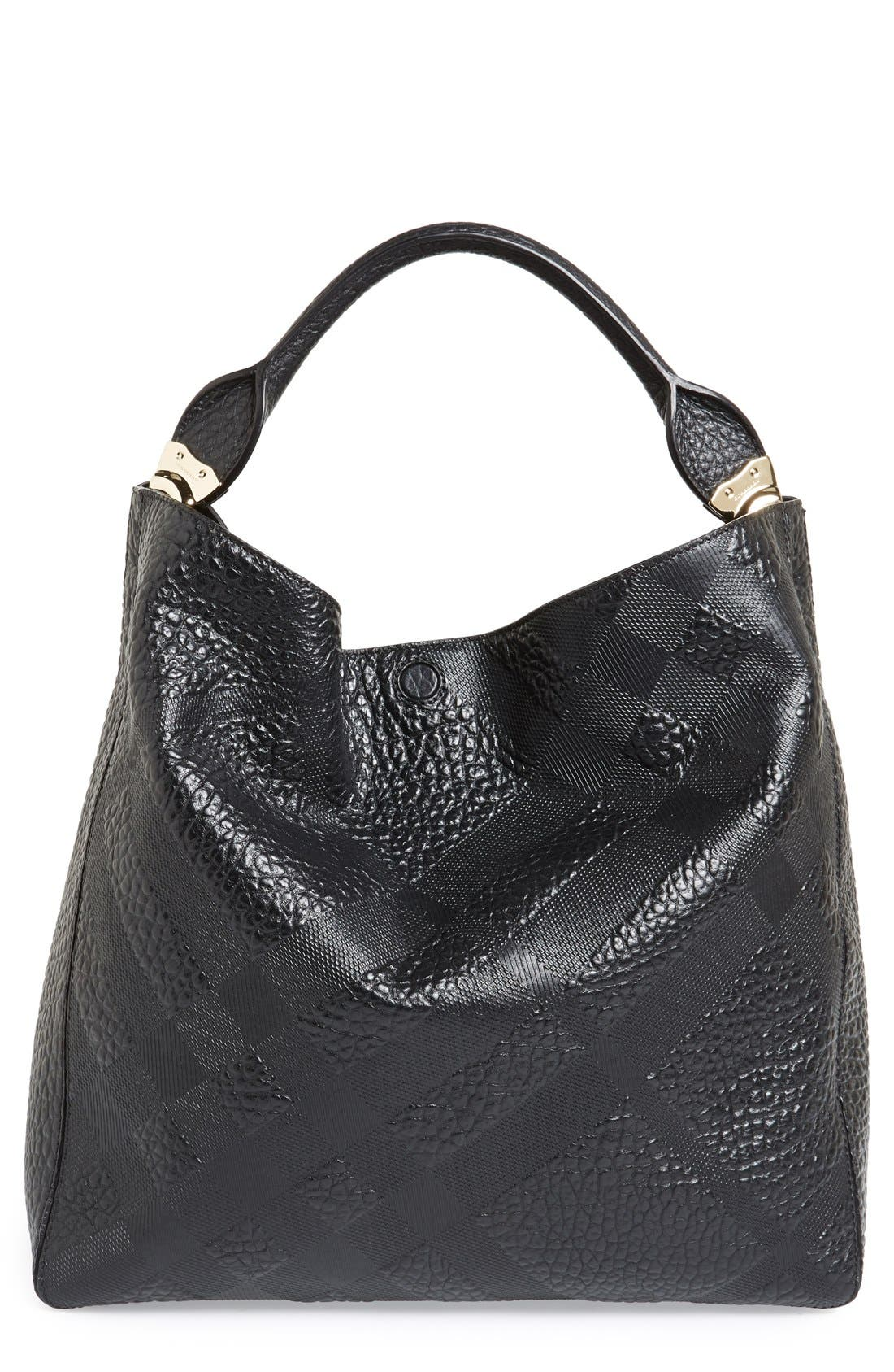 Alternate Image 1 Selected - Burberry 'Medium Lindburn' Check Embossed Leather Hobo
