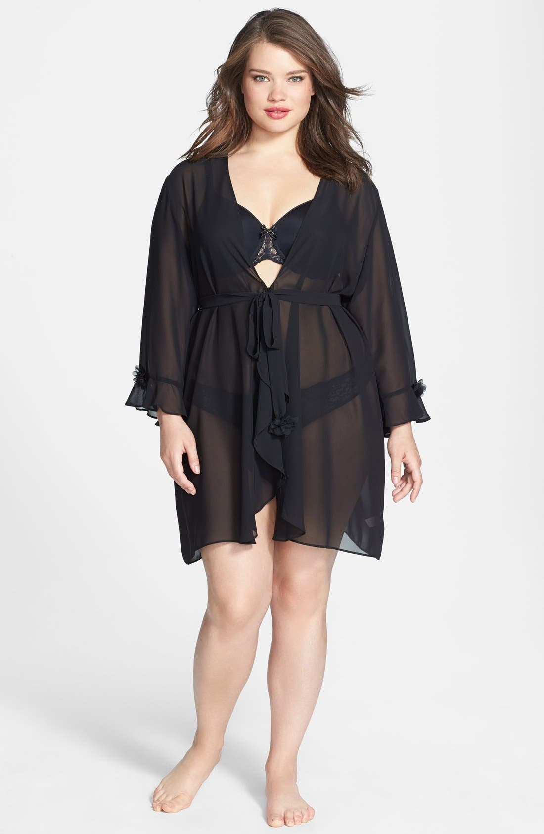 Alternate Image 1 Selected - Oscar de la Renta 'Night & Day' Sheer Georgette Robe (Plus Size)