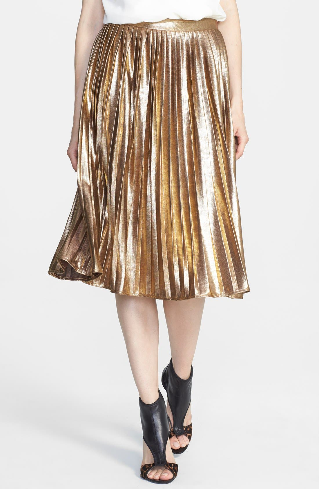Alternate Image 1 Selected - Rules of Etiquette Metallic Pleat Skirt
