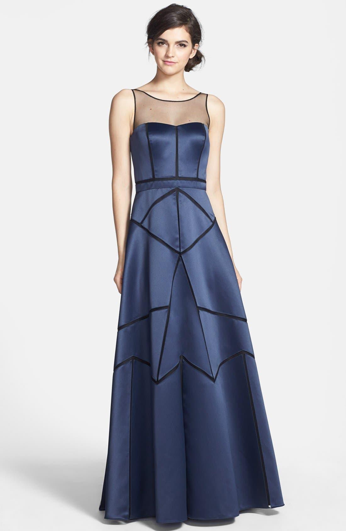 Main Image - Aidan Mattox Illusion Neck Seam Detail Satin Gown