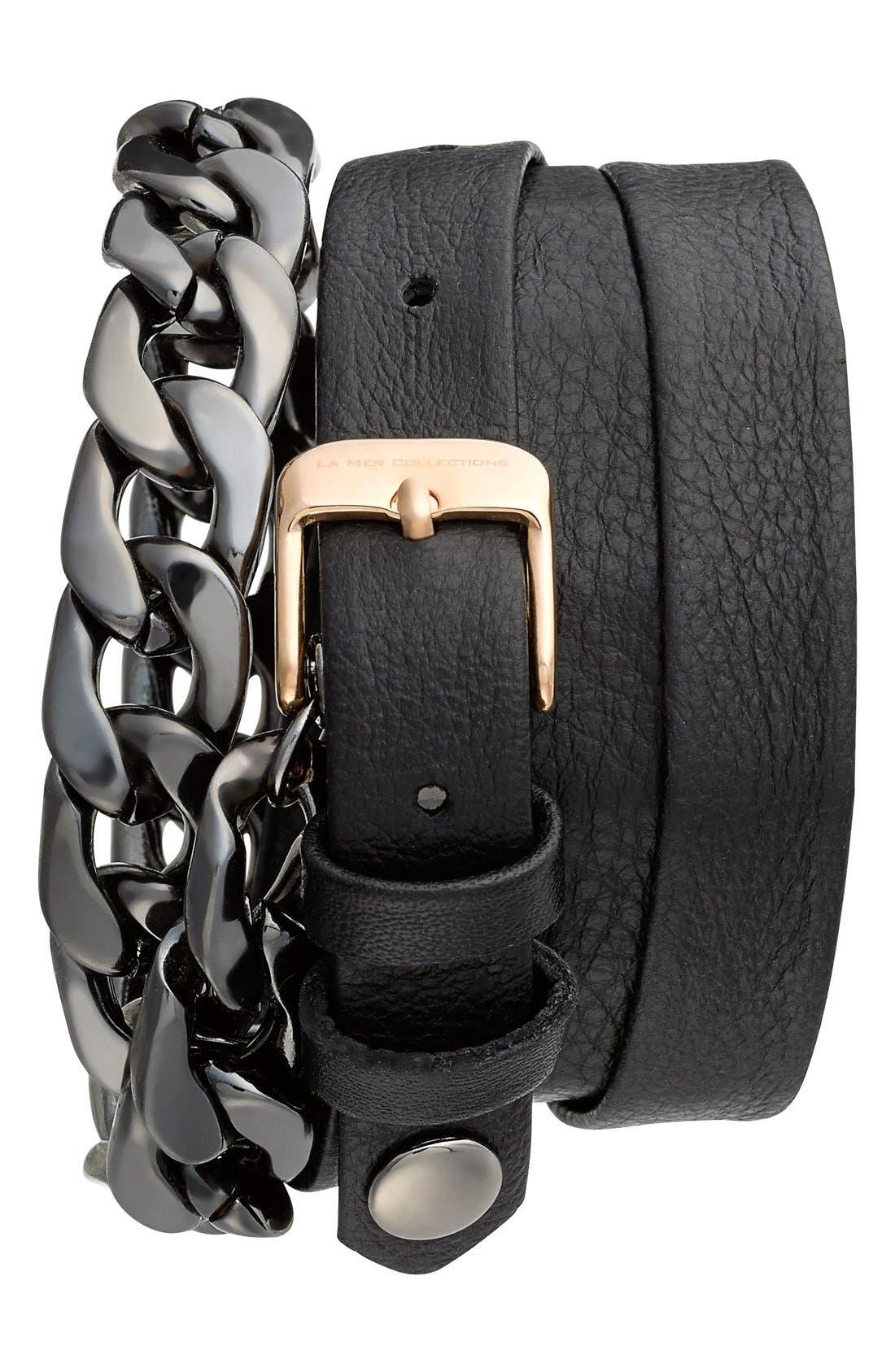 Alternate Image 2  - La Mer Collections 'Gunmetal Malibu' Leather & Chain Wrap Bracelet Watch, 23mm x 30mm
