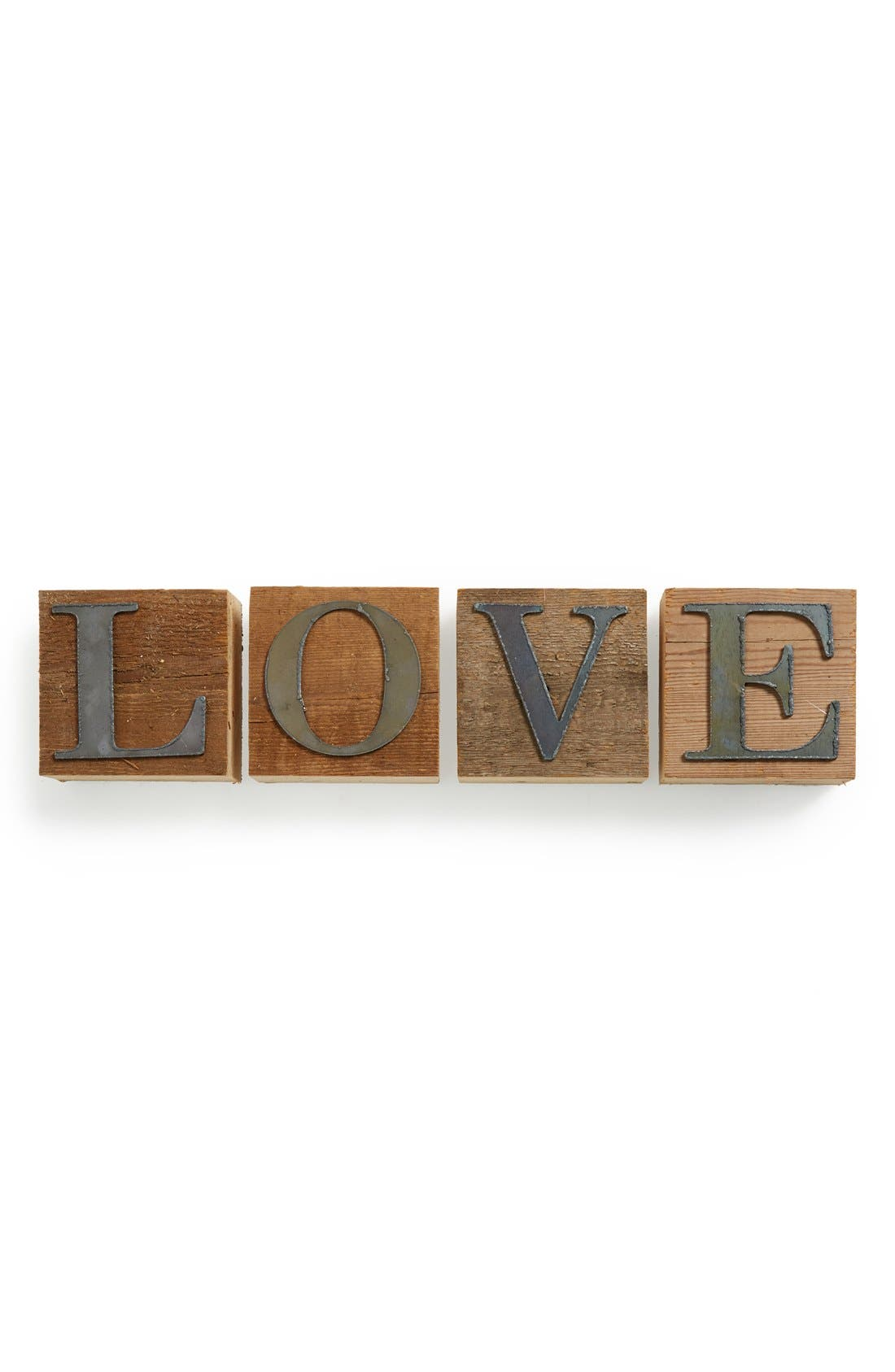 Alternate Image 1 Selected - Second Nature by Hand 'Love' Repurposed Wood Block Art