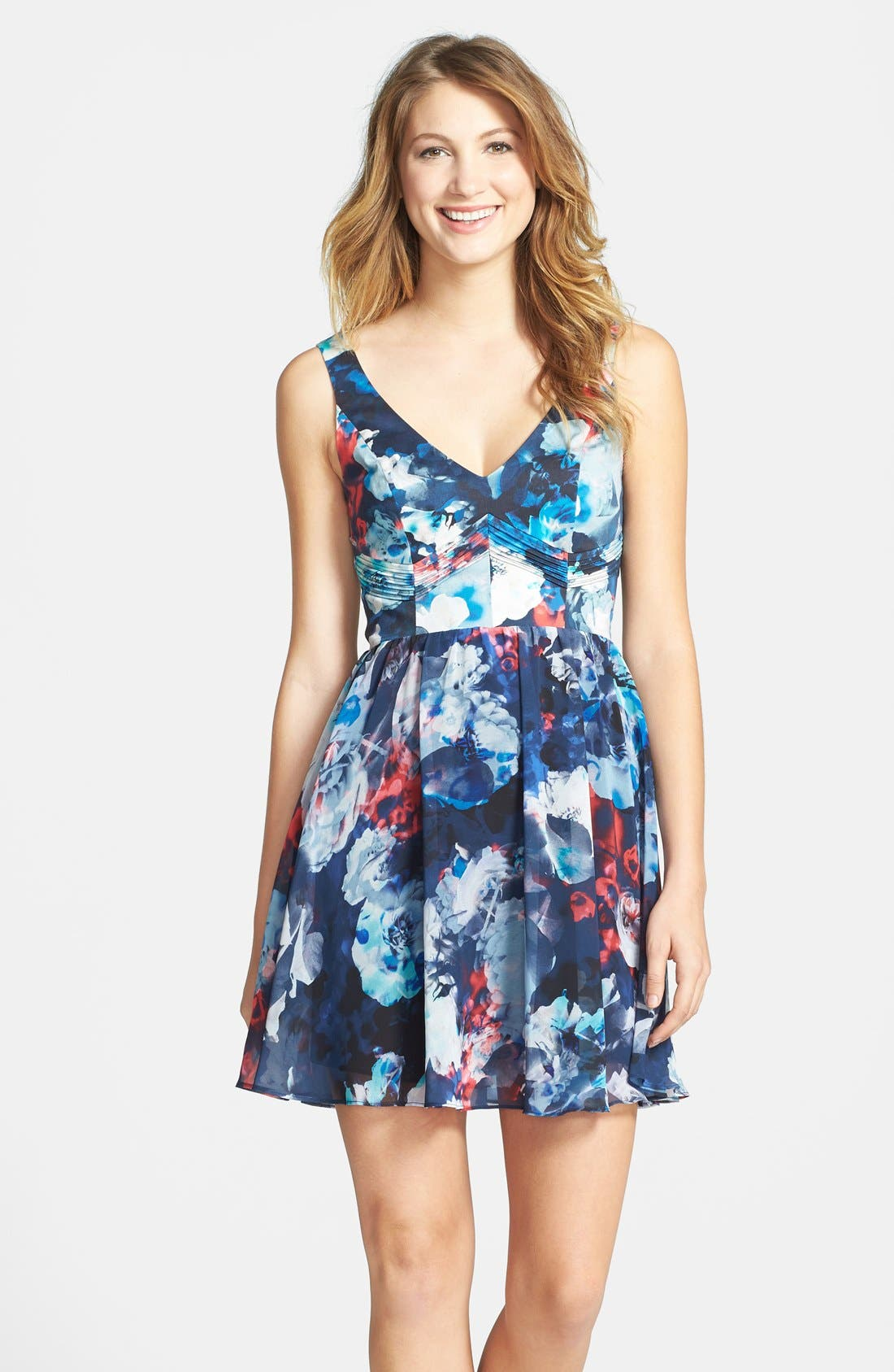 Main Image - Bardot Floral Print Fit & Flare Dress (Nordstrom Exclusive)