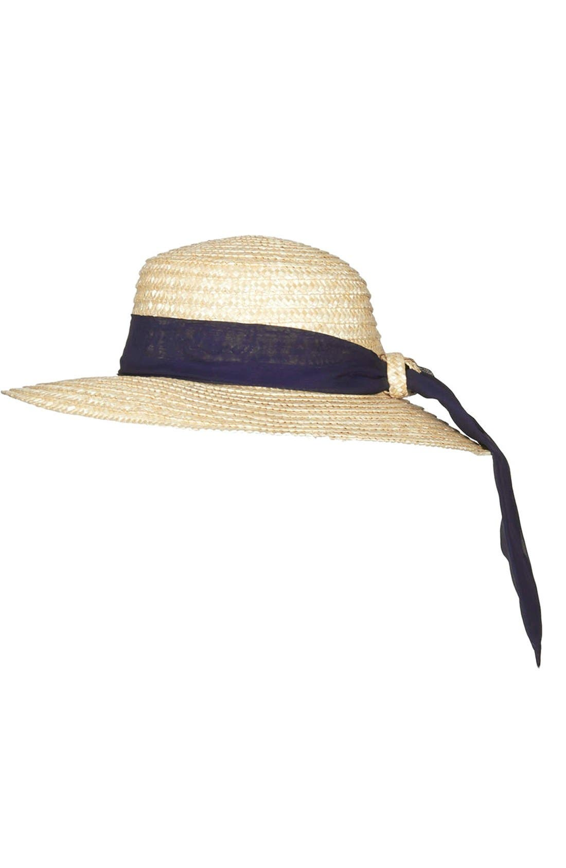 Main Image - Topshop Straw Boater Hat