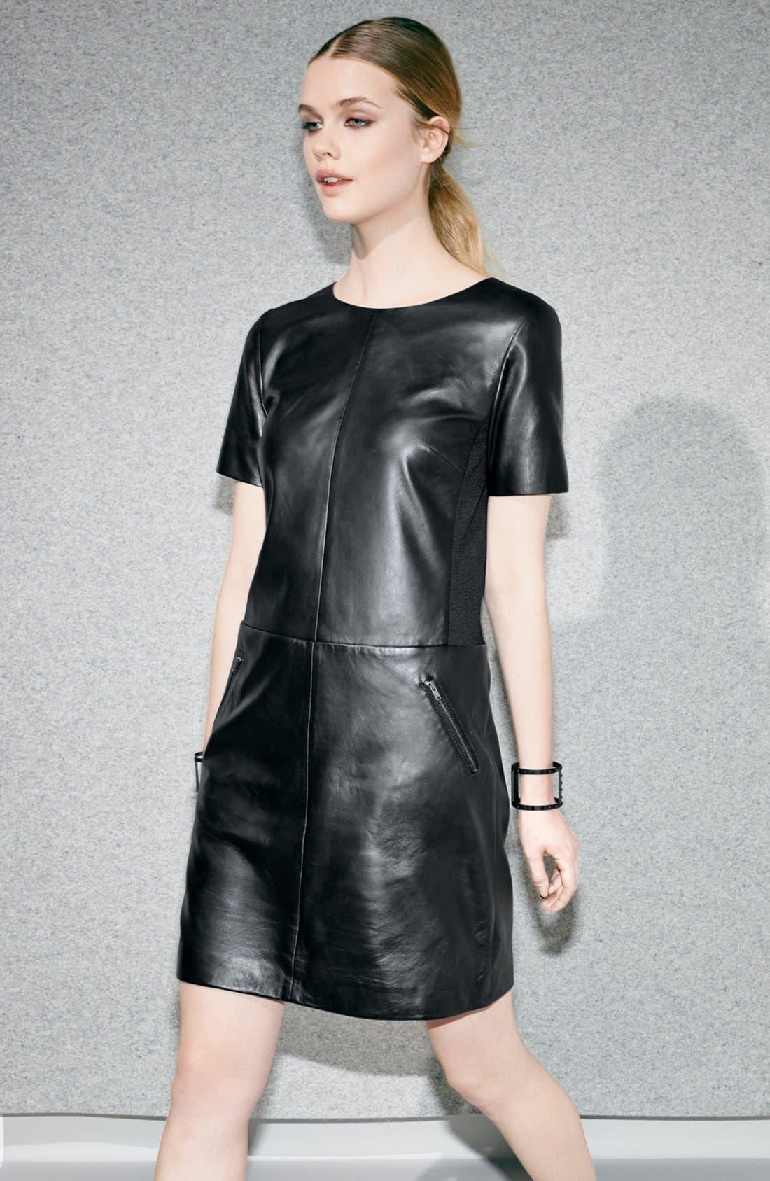 Alternate Image 4  - Halogen® Leather & Ponte Knit Shift Dress (Regular & Petite)