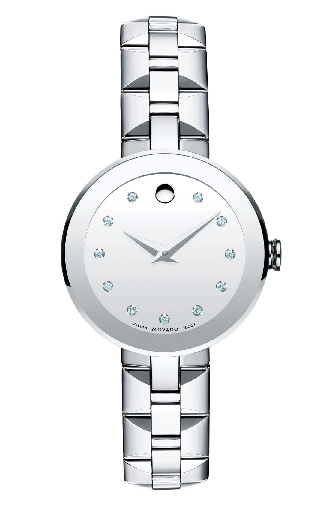 MOVADO 'Sapphire' Diamond Index Bracelet Watch, 28mm
