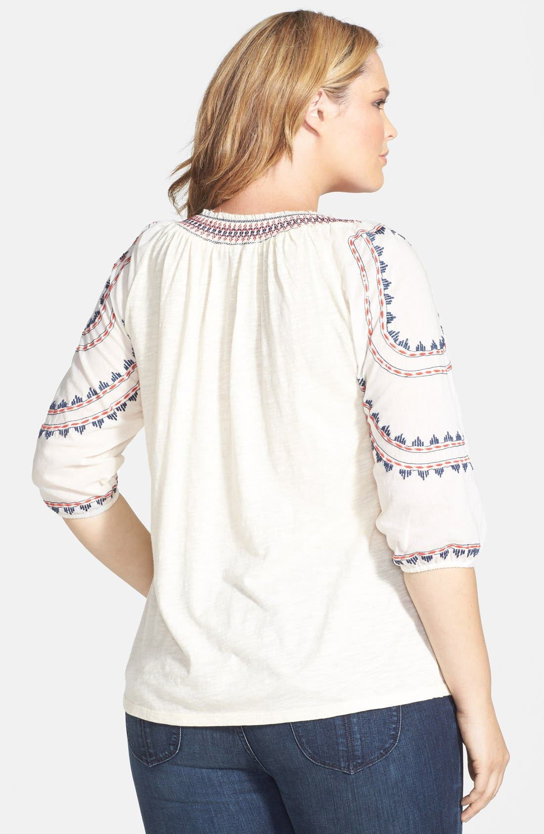 Alternate Image 2  - Lucky Brand Embroidered Stripe Jersey Tee (Plus Size)