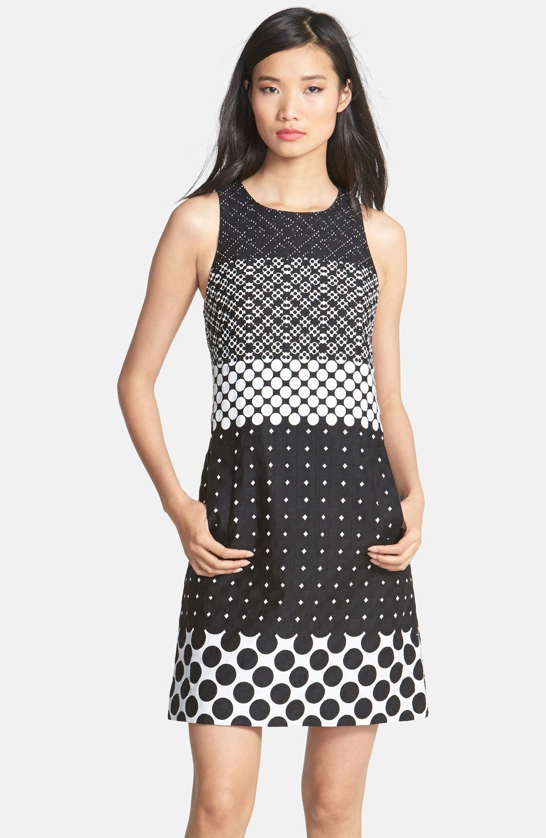 Main Image - Taylor Dresses Print Cotton Jacquard Shift Dress