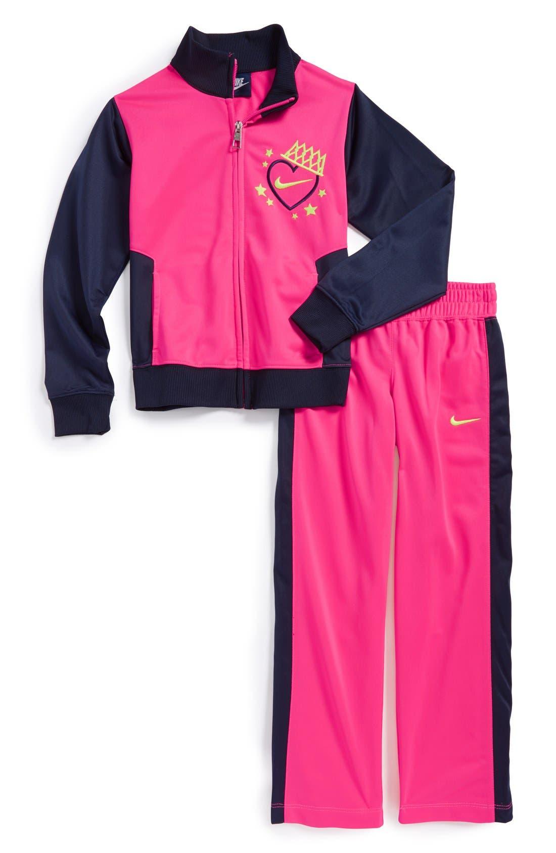 Alternate Image 1 Selected - Nike 'Tricot' Warm Up Set (Toddler Girls & Little Girls)