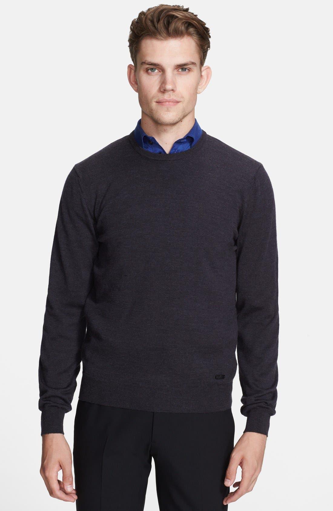 Alternate Image 1 Selected - Armani Collezioni Wool Jersey Crewneck Sweater