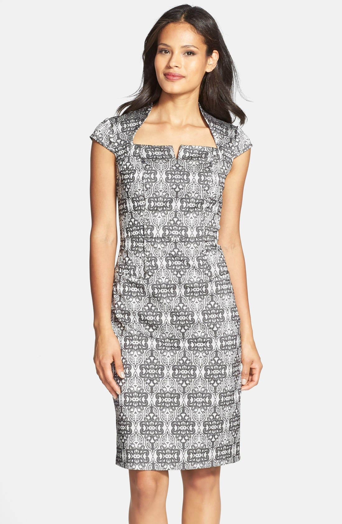 Main Image - Adrianna Papell Cap Sleeve Print Sheath Dress (Regular & Petite)