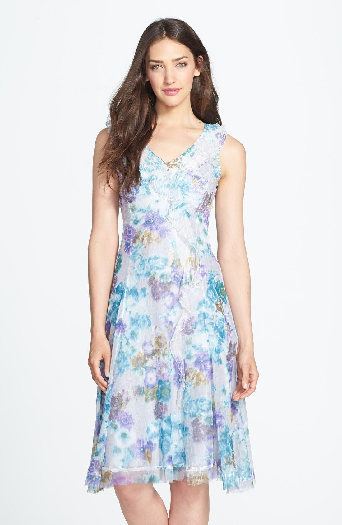 Alternate Image 1 Selected - Komarov Print Ruffled Chiffon Dress