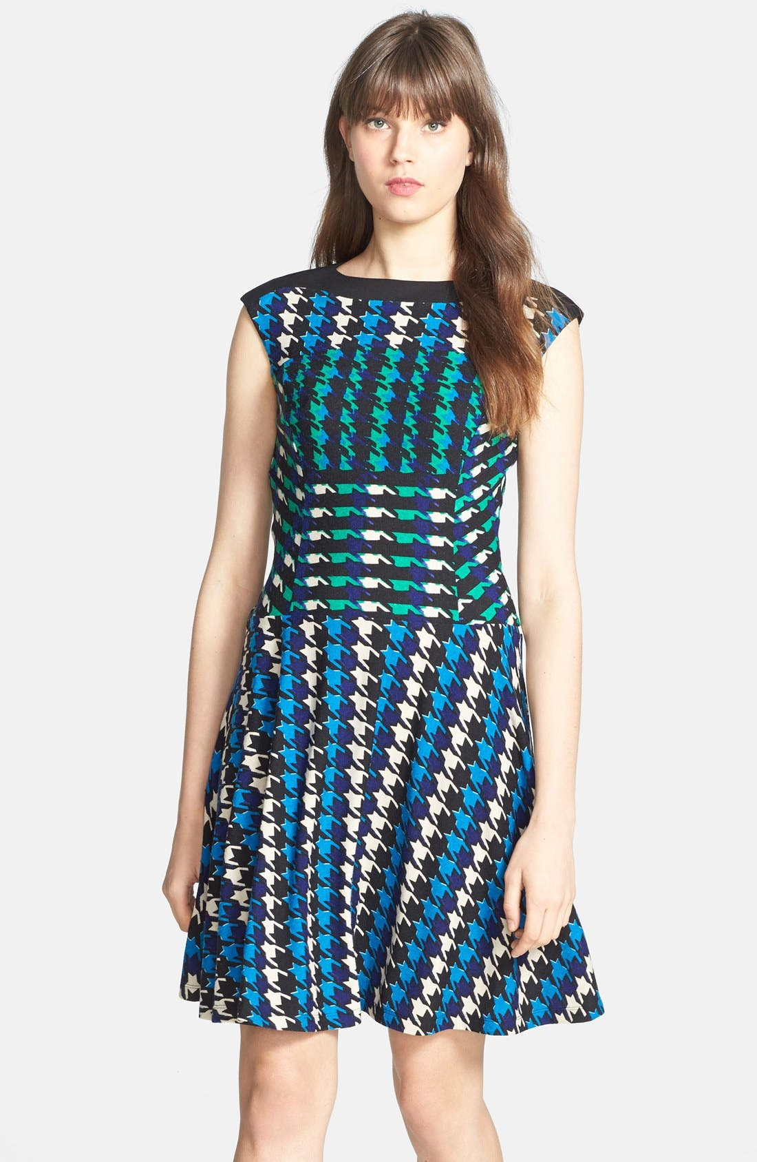 Main Image - Gabby Skye Houndstooth Print Ponte Knit Fit & Flare Dress