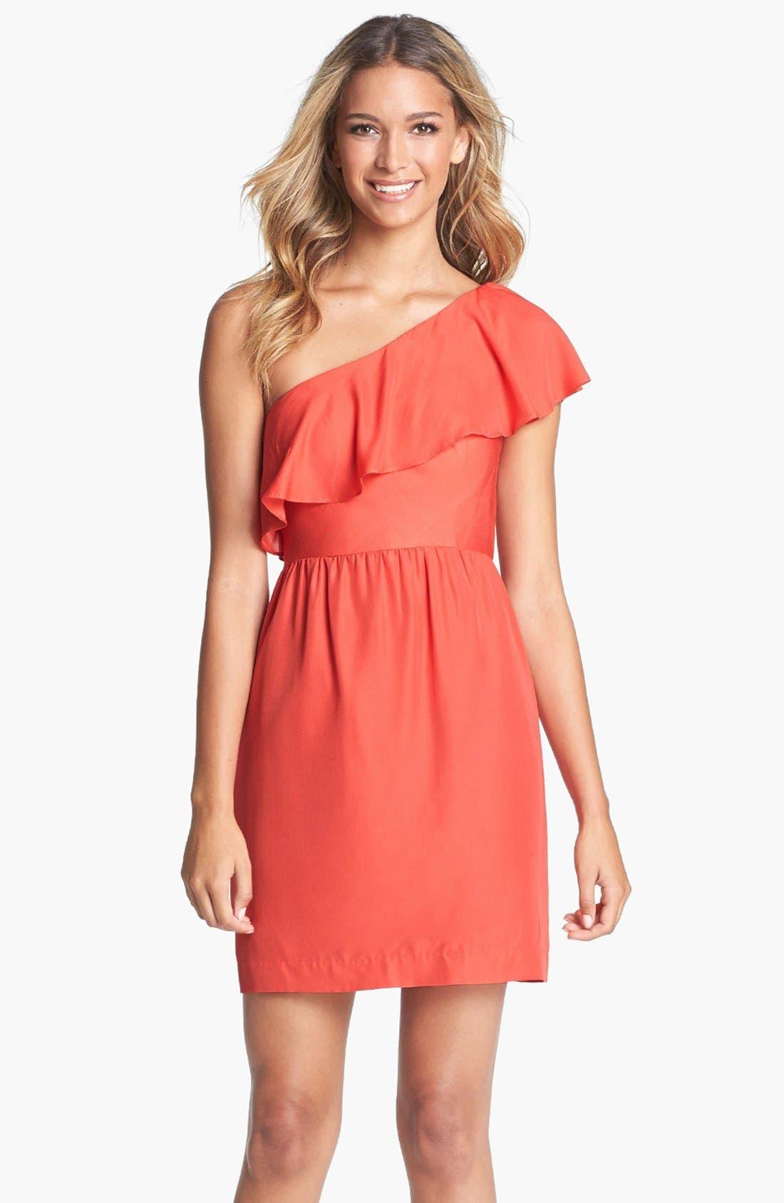Alternate Image 1 Selected - Jenny Yoo 'Lulu' Ruffled One-Shoulder Sheath Dress (Online Only)