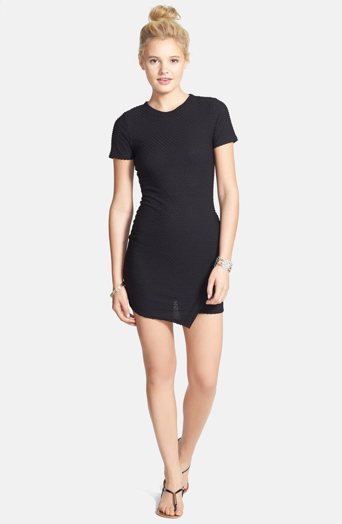 Main Image - dee elle Textured Body-Con Dress (Juniors)