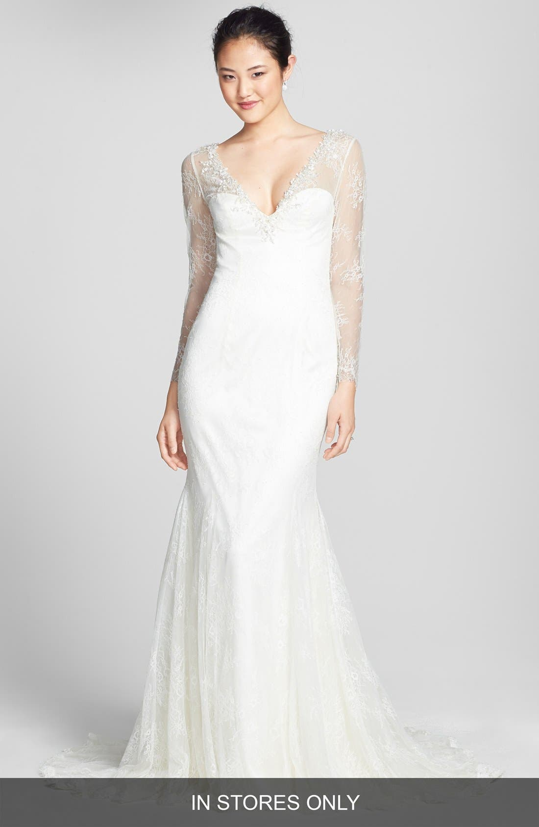 Alternate Image 1 Selected - Badgley Mischka Bridal 'Barbara' Embellished Lace Overlay Trumpet Dress (In Stores Only)