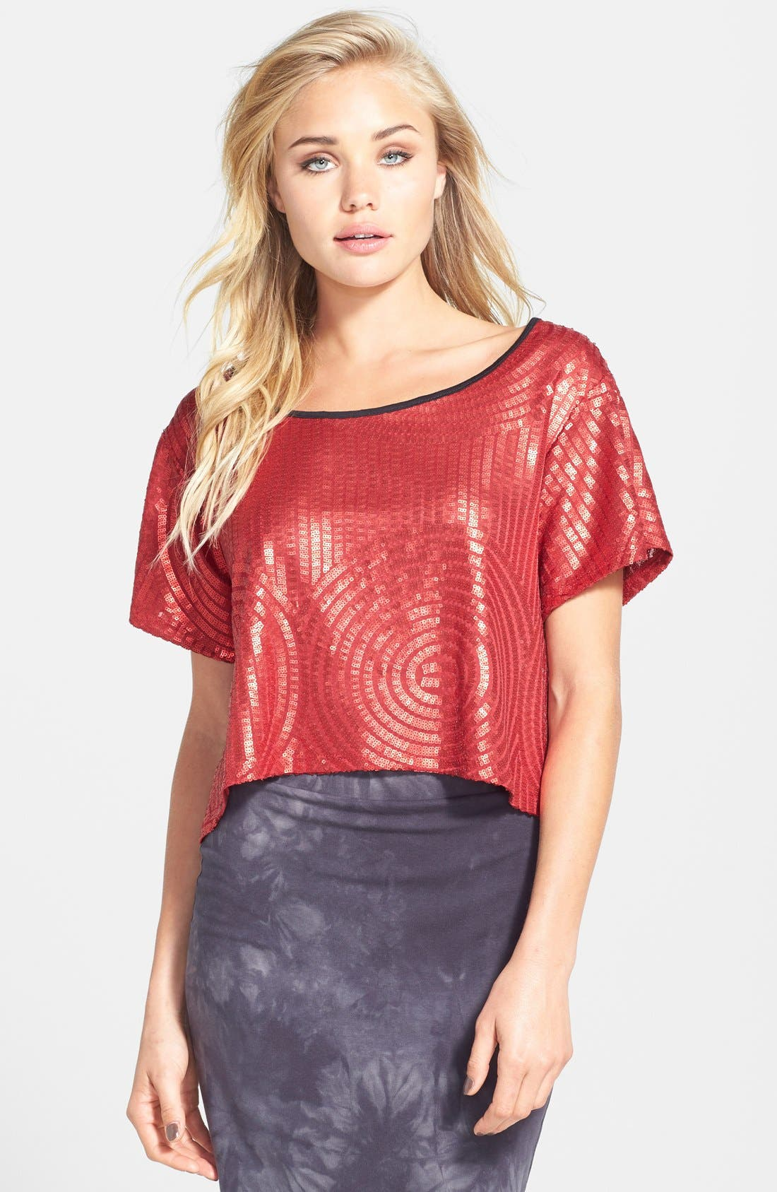 Alternate Image 1 Selected - Leith Sequin Crop Top