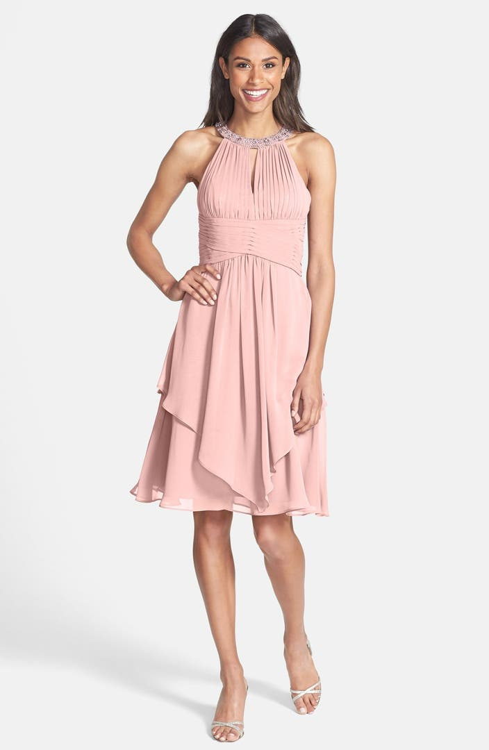 Eliza J Embellished Neck Layered Chiffon Fit Amp Flare Dress