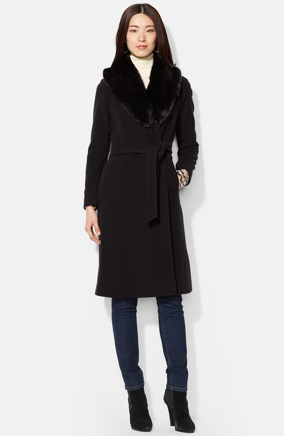Main Image - Lauren Ralph Lauren Faux Fur Trim Wool Blend Wrap Coat (Online Only)