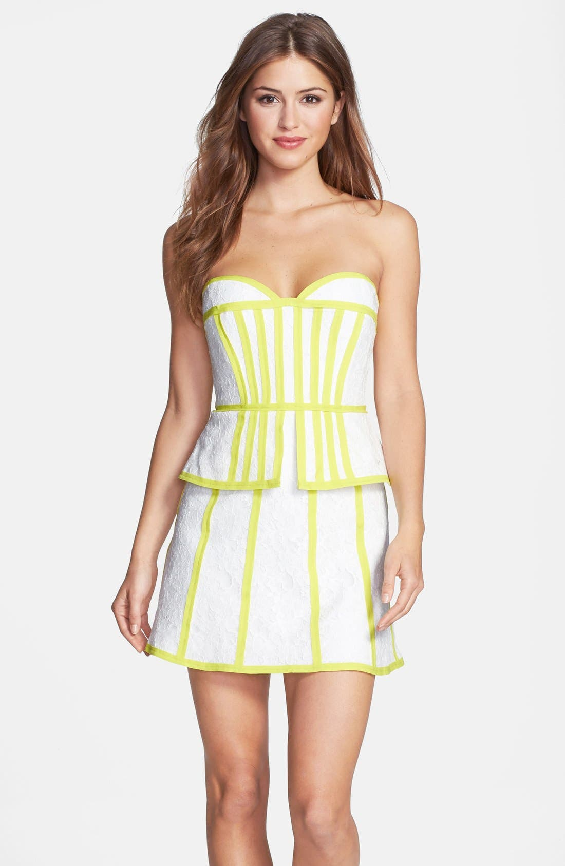 Alternate Image 1 Selected - BCBGMAXAZRIA Contrast Trim French Lace Peplum Dress