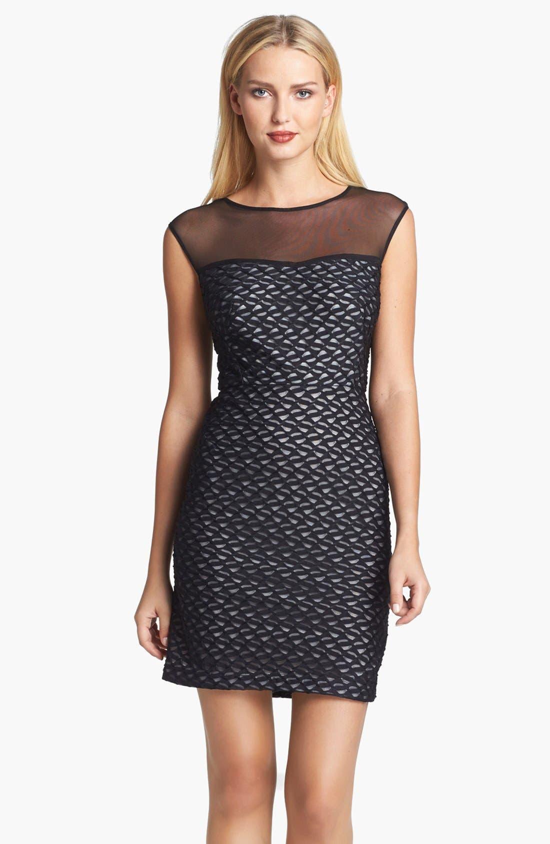 Alternate Image 1 Selected - Donna Ricco Illusion Yoke Sheath Dress