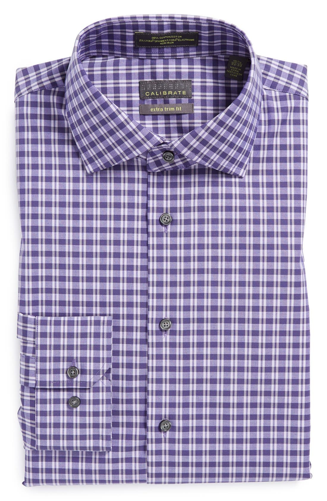 Alternate Image 1 Selected - Calibrate Extra Trim Fit Non-Iron Check Dress Shirt