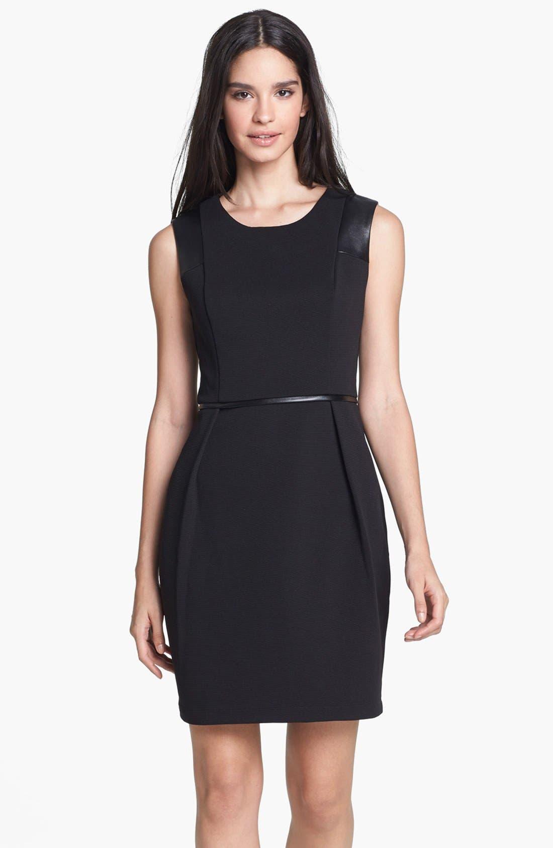 Main Image - Donna Ricco Faux Leather Trim Sheath Dress