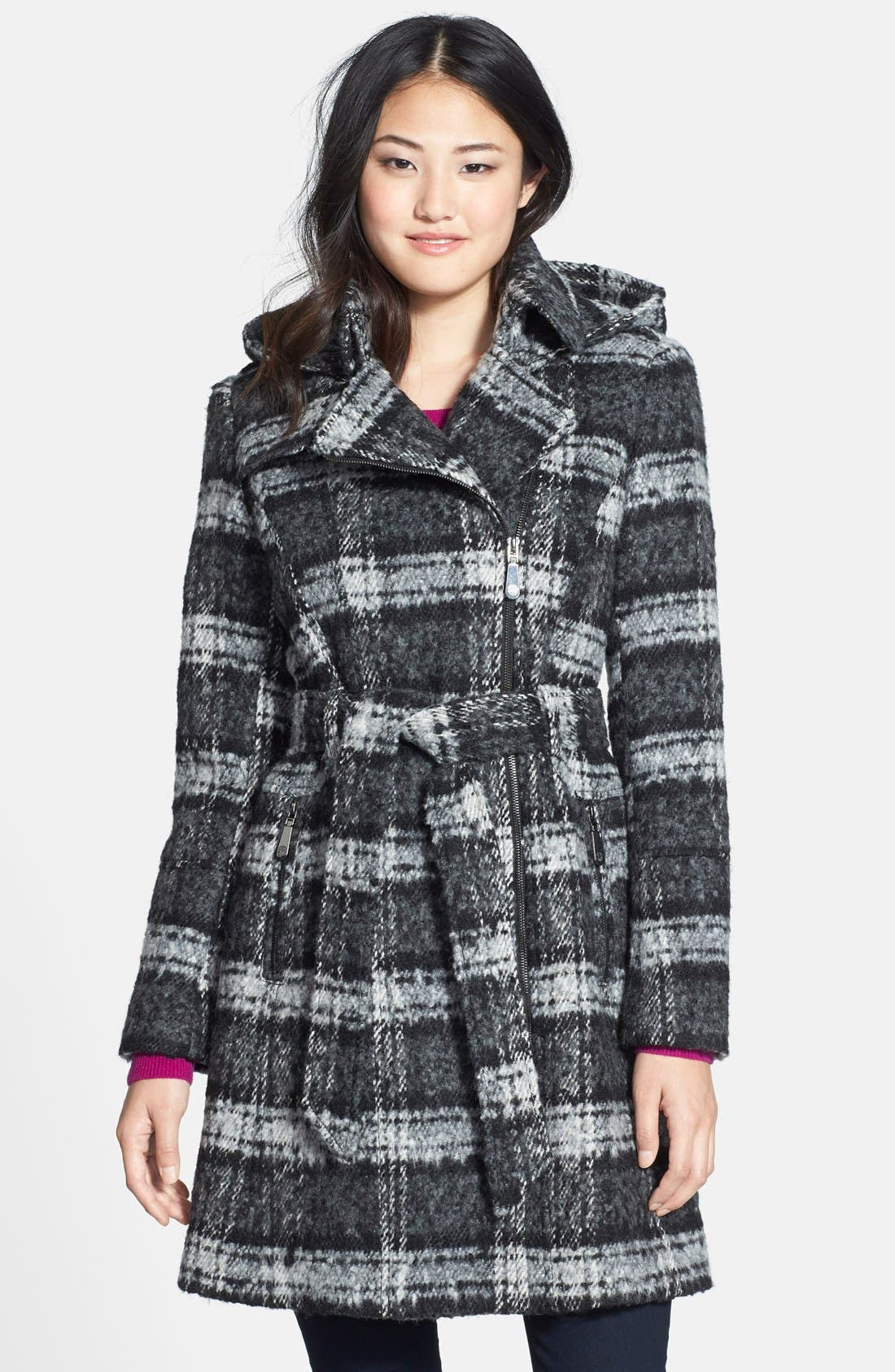 Main Image - Vince Camuto Plaid Trench Coat with Removable Hood