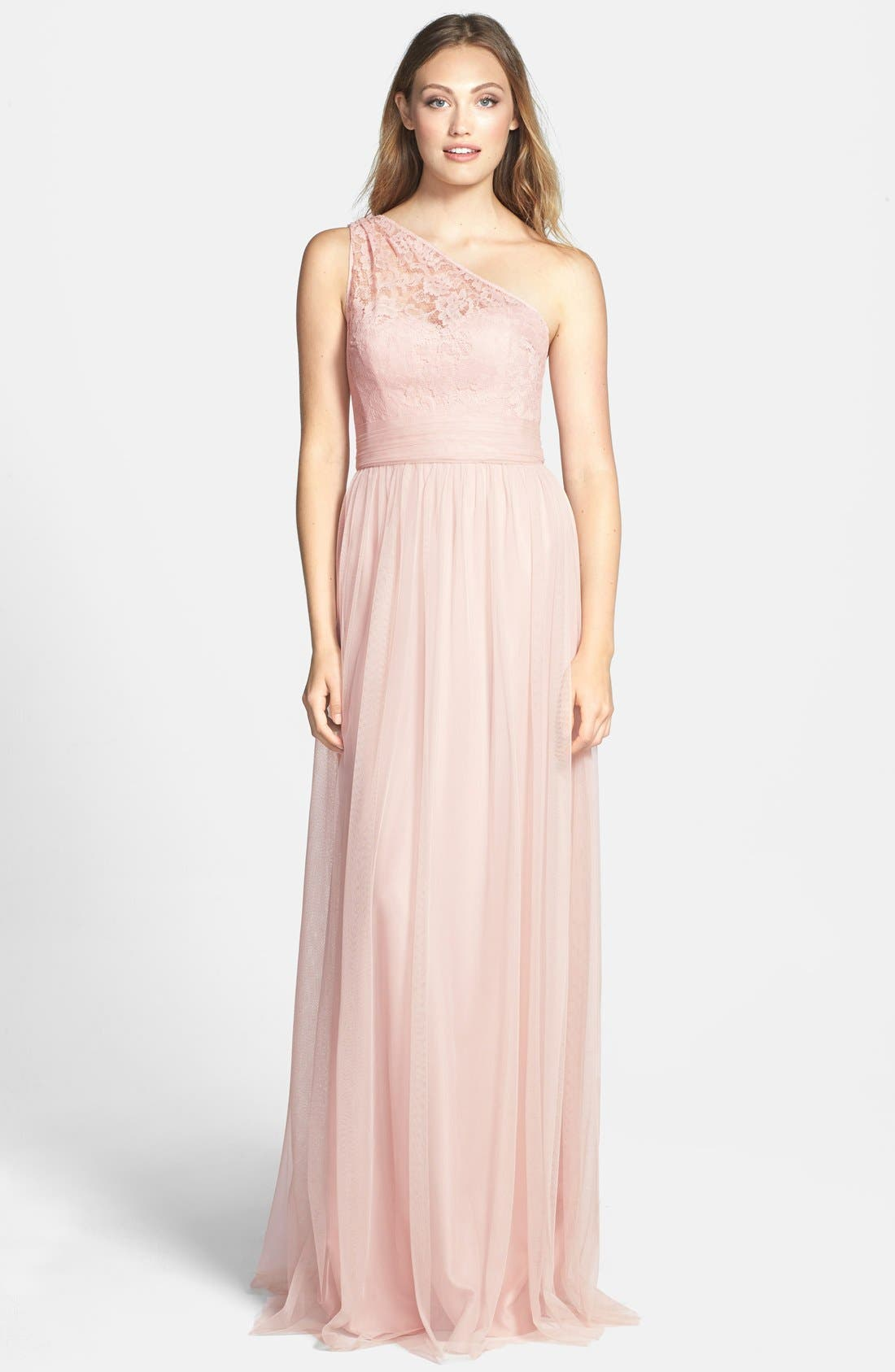 Alternate Image 1 Selected - Amsale Lace & Tulle One-Shoulder Gown