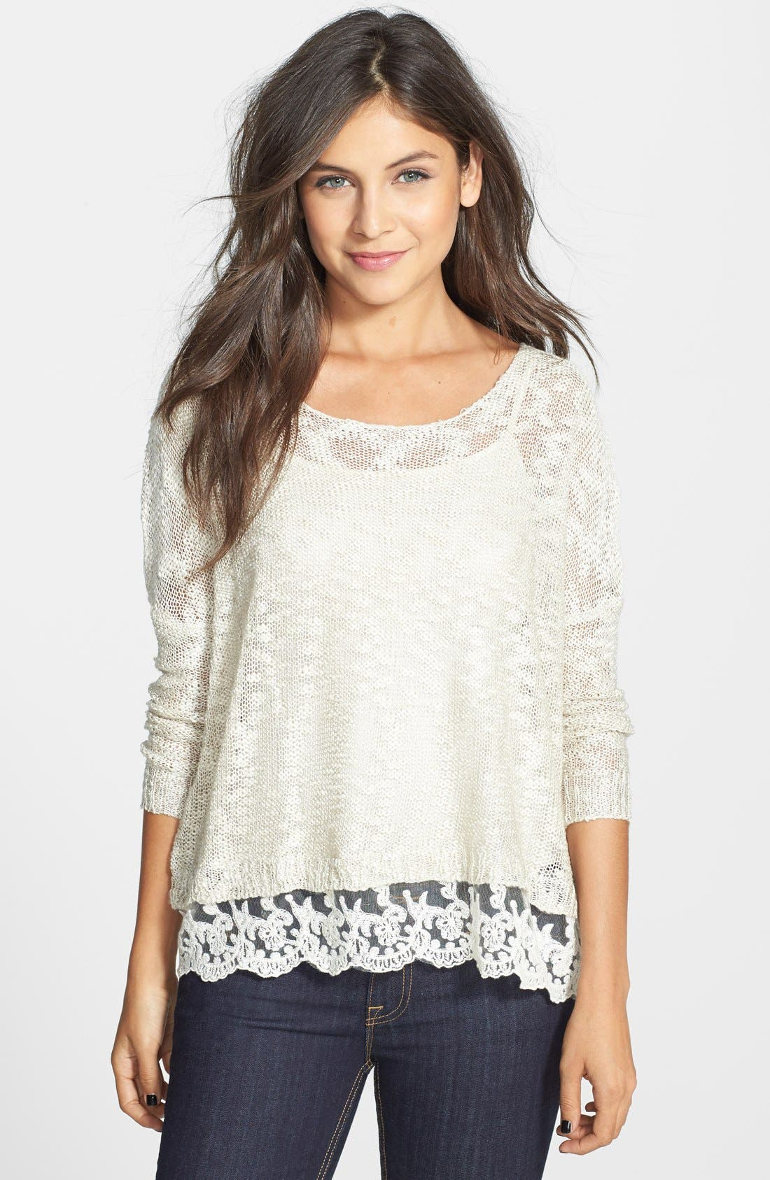 Alternate Image 1 Selected - Love by Design Crochet Hem Sweater (Juniors)
