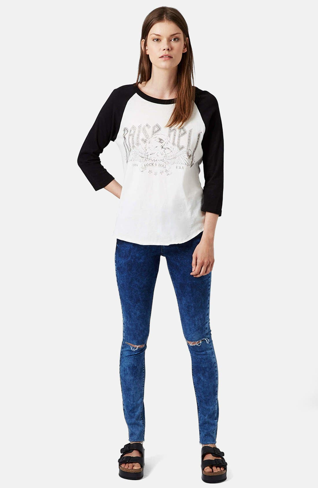 Alternate Image 5  - Topshop Moto 'Leigh' Ankle Skinny Jeans (Navy Blue)