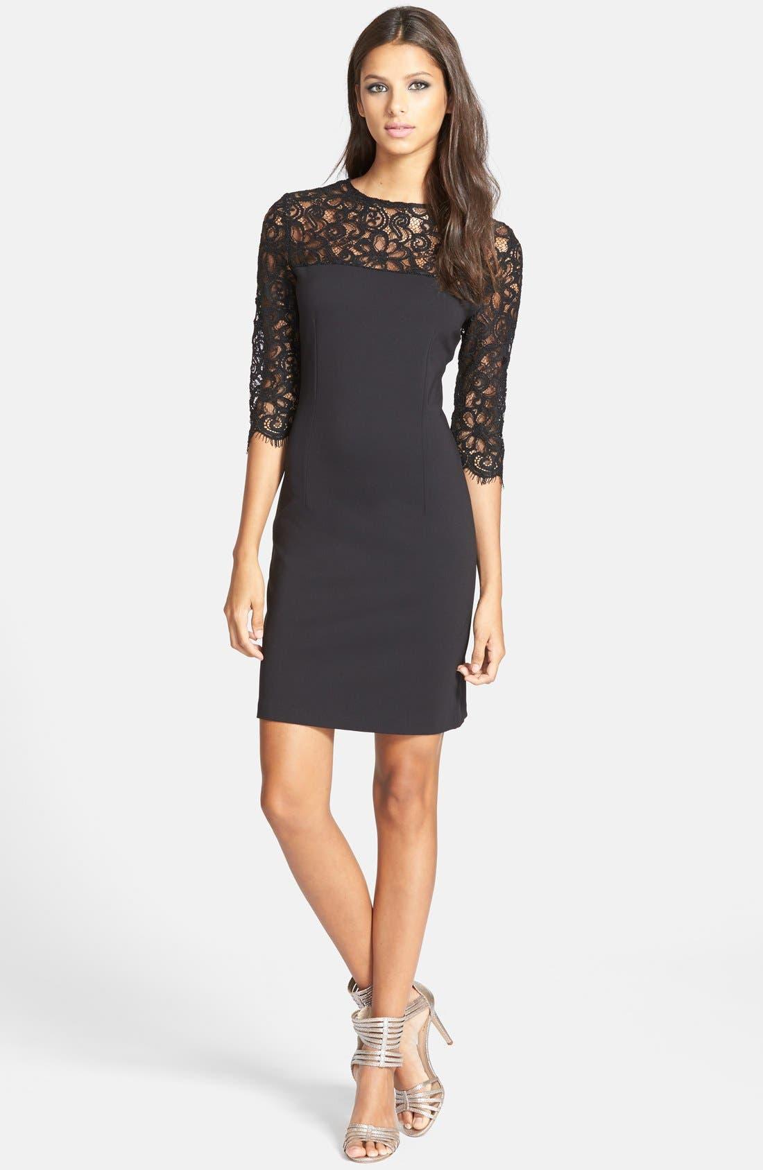 Alternate Image 3  - BB Dakota 'Chevis' Lace & Ponte Sheath Dress