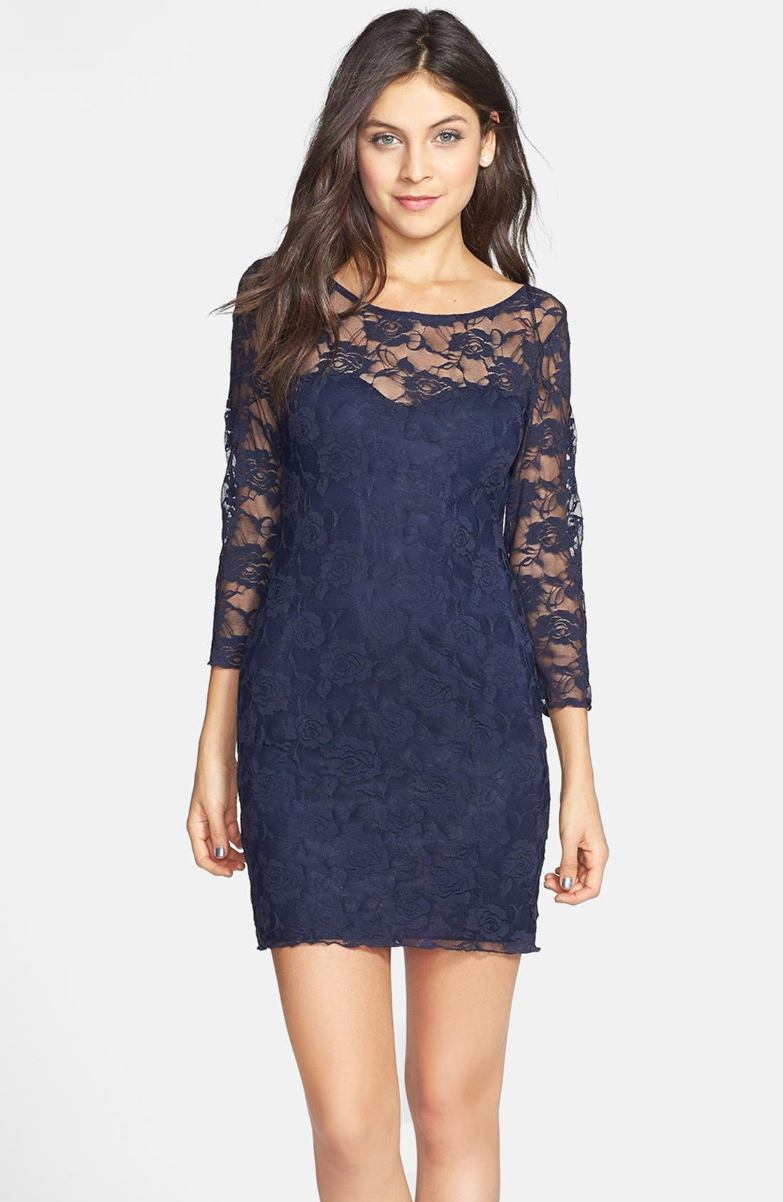 Alternate Image 1 Selected - Jump Apparel Lace Overlay Body-Con Dress (Juniors)