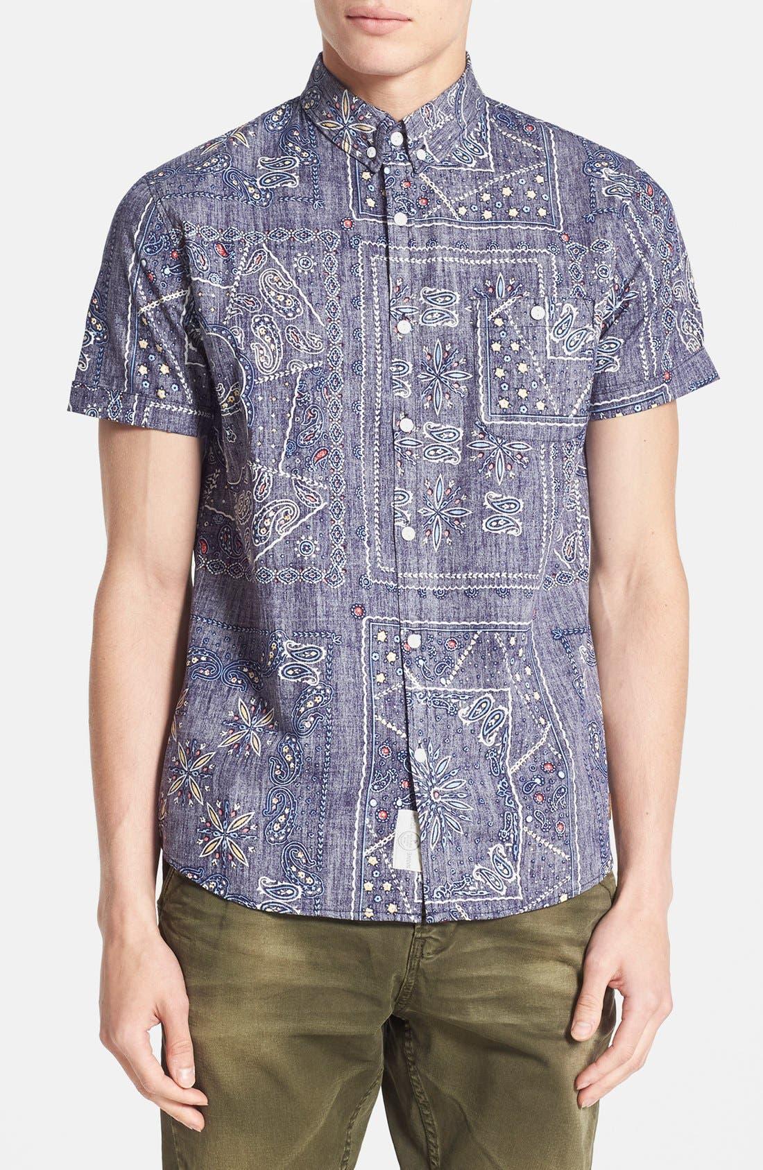Alternate Image 1 Selected - Native Youth Gypsy Paisley Print Short Sleeve Chambray Shirt