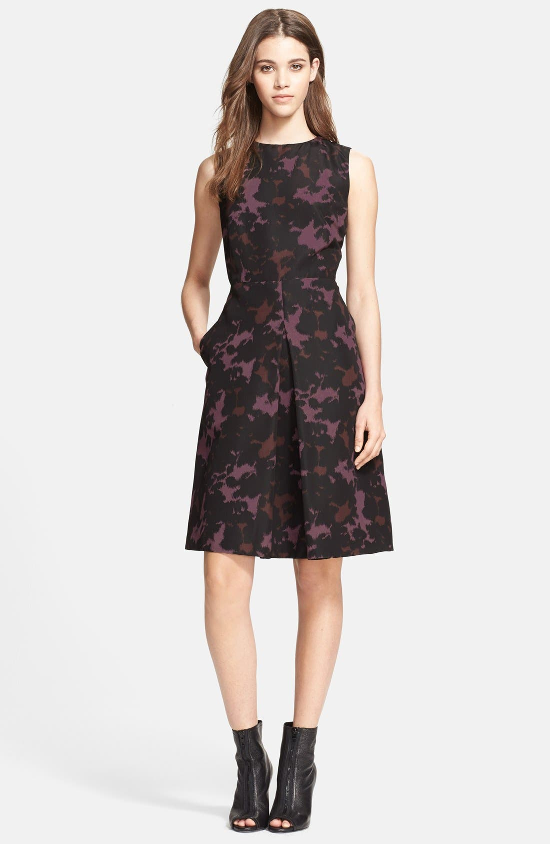 Alternate Image 1 Selected - Burberry London Print Mulberry Silk Fit & Flare Dress