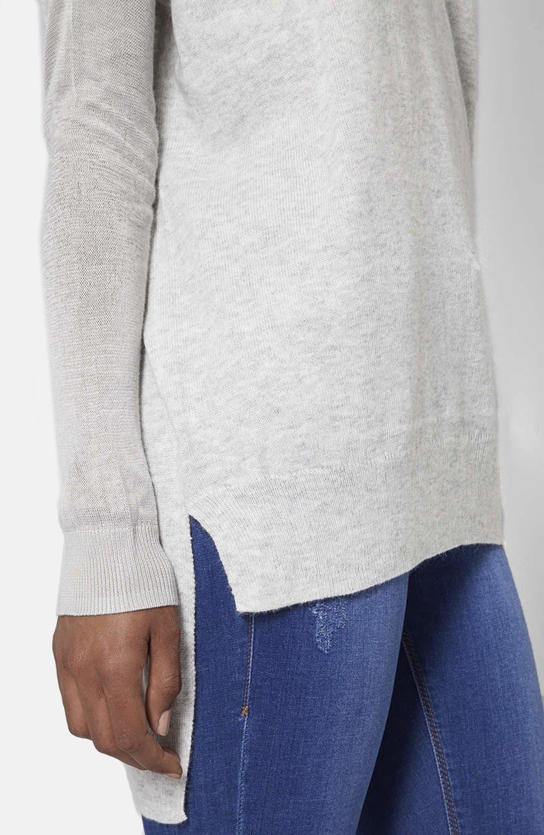 Alternate Image 4  - Topshop Asymmetrical V-Neck Sweater
