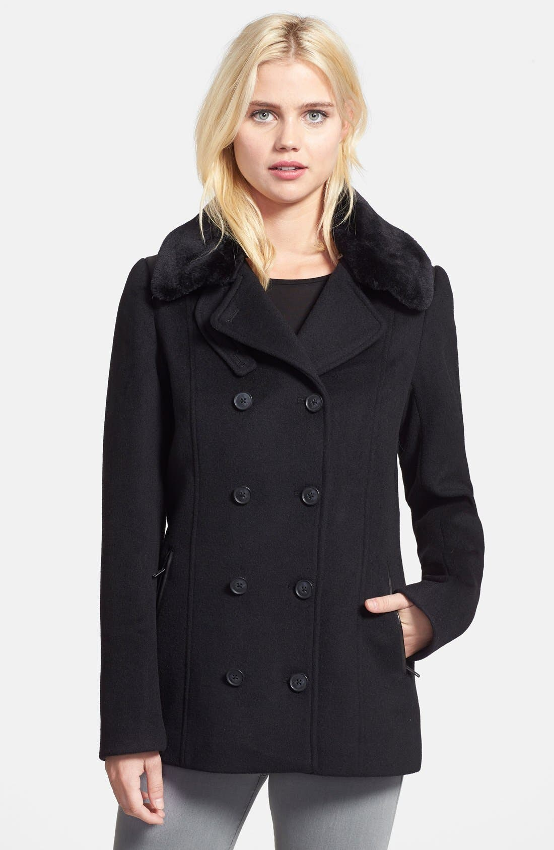 Main Image - Soia & Kyo Double Breasted Wool Blend Peacoat with Faux Fur Collar (Online Only)