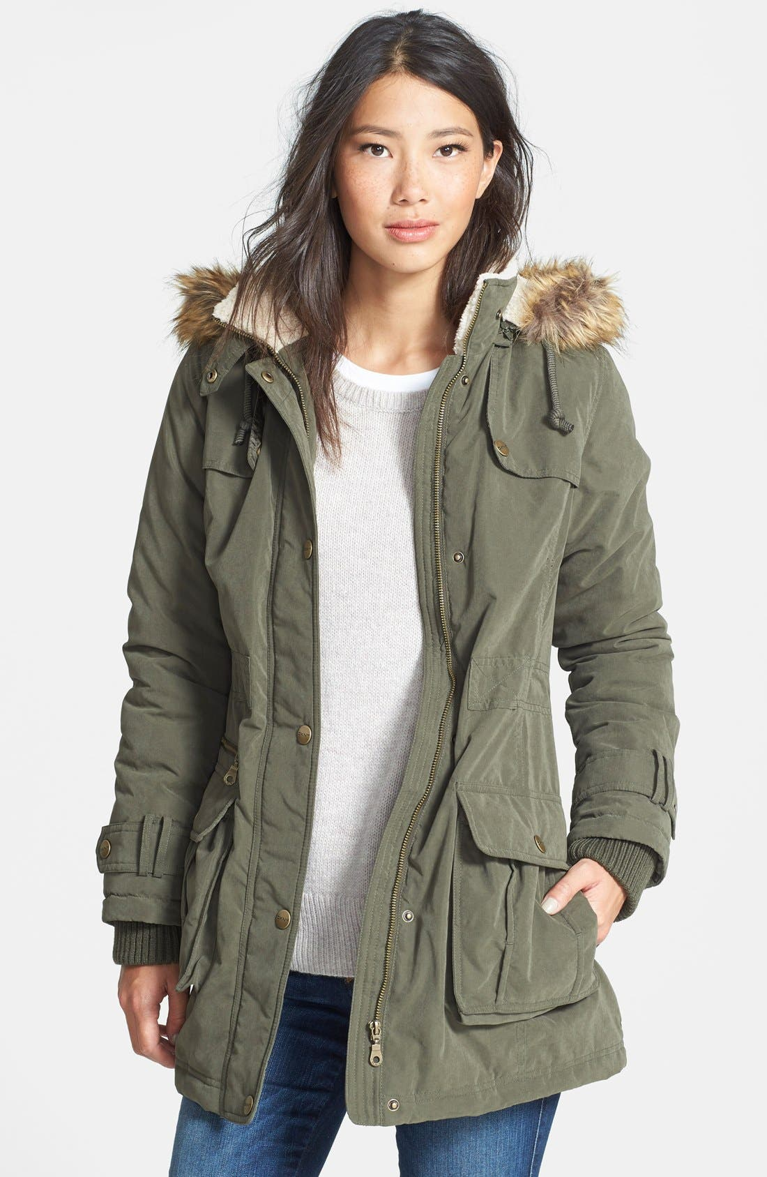 Alternate Image 1 Selected - DKNY Faux Fur Trim Anorak (Regular & Petite)