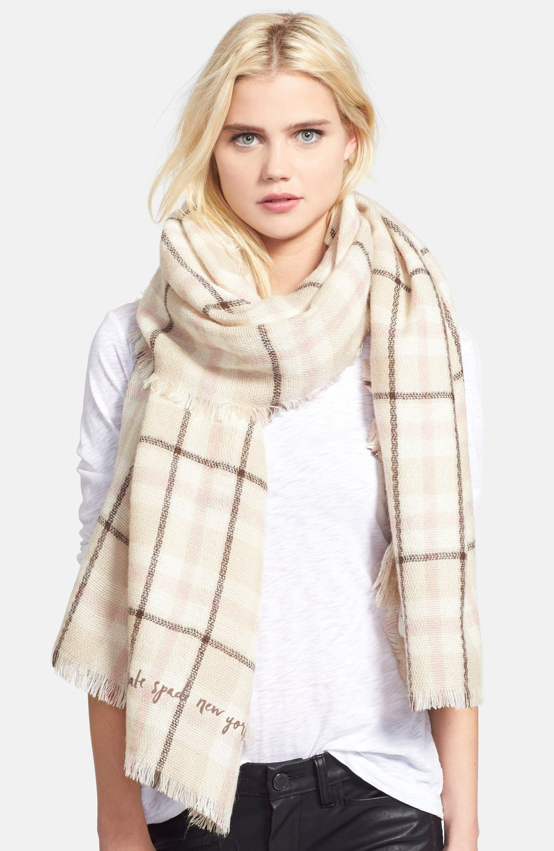Alternate Image 1 Selected - kate spade new york plaid blanket scarf