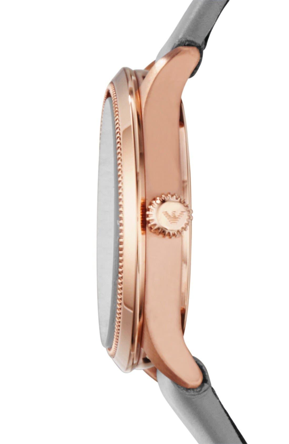Alternate Image 3  - Emporio Armani Round Leather Strap Watch, 26mm