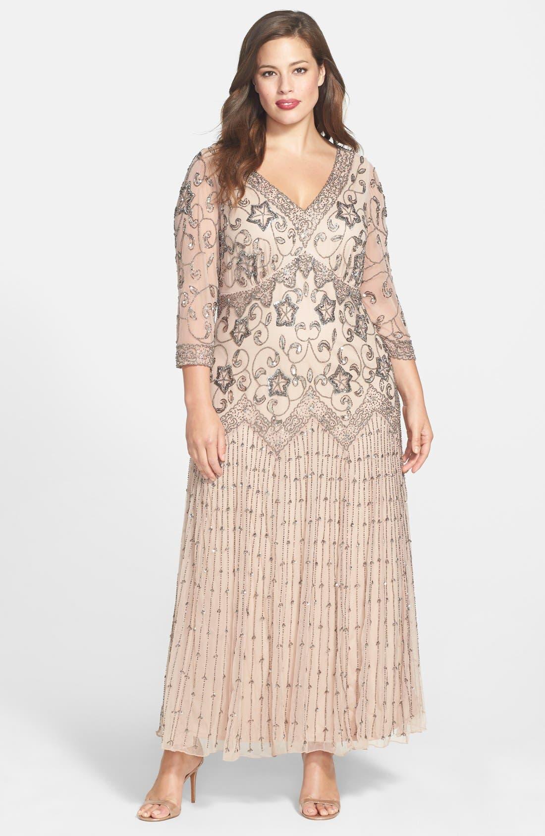 Main Image - Pisarro Nights Beaded Mesh Gown (Plus Size)