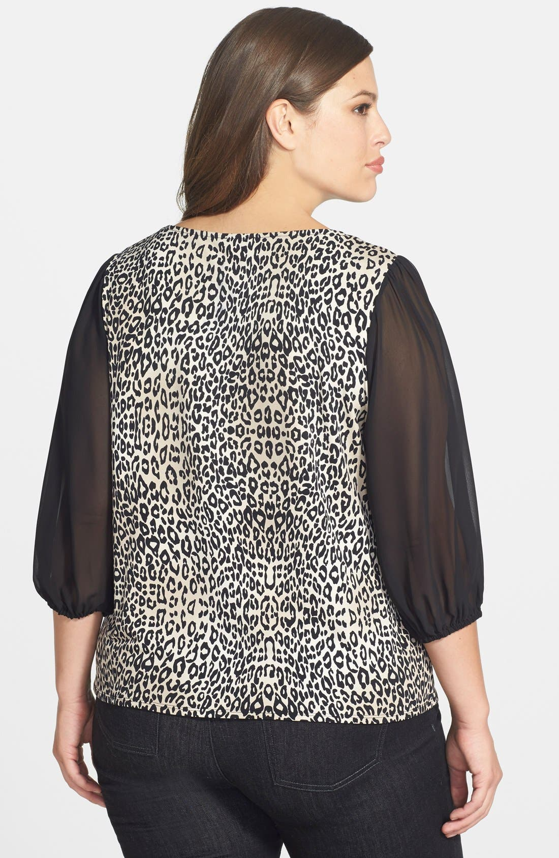 Alternate Image 2  - Vince Camuto 'Desert Leopard' Chiffon Sleeve Top (Plus Size)